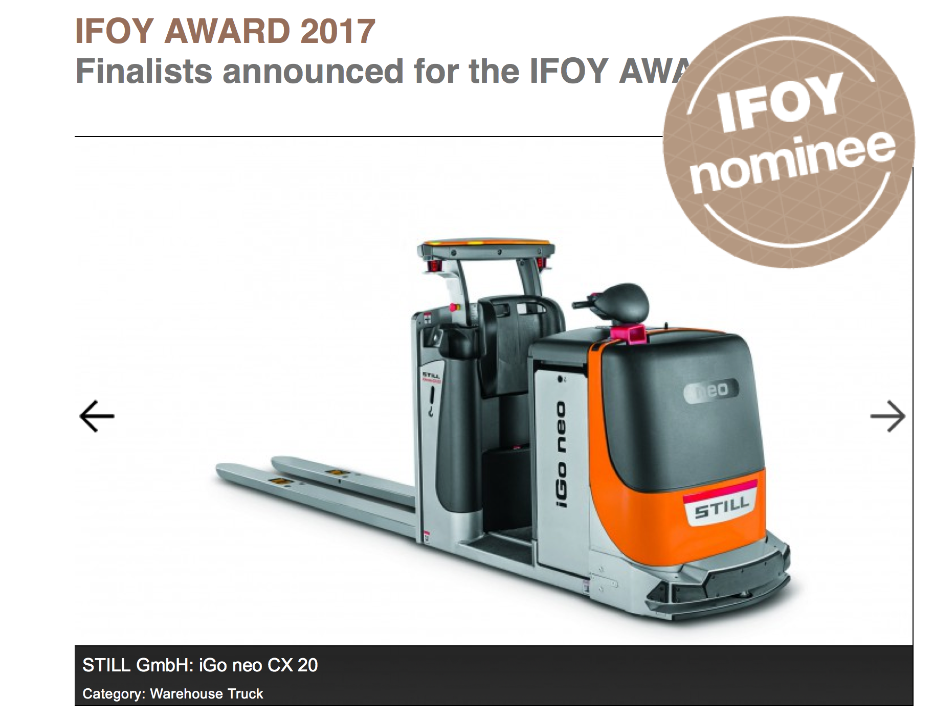 forklift awards